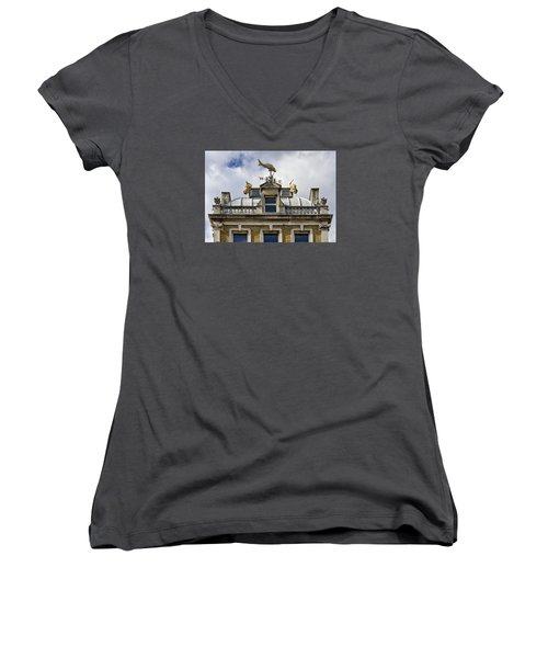 Women's V-Neck T-Shirt (Junior Cut) featuring the photograph Billingsgate Fish Market London by Shirley Mitchell