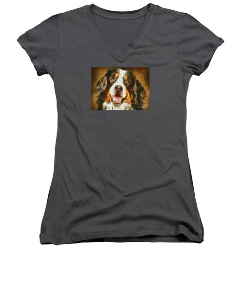 Women's V-Neck T-Shirt (Junior Cut) featuring the painting Bimbo - Bernese Mountain Dog by Dragica  Micki Fortuna