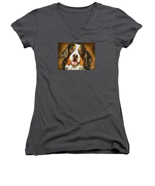 Bimbo - Bernese Mountain Dog Women's V-Neck T-Shirt (Junior Cut)