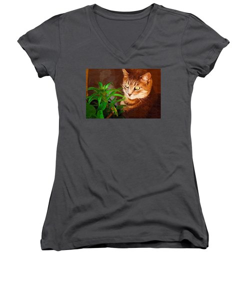 Women's V-Neck T-Shirt (Junior Cut) featuring the photograph Bink by Donna Bentley