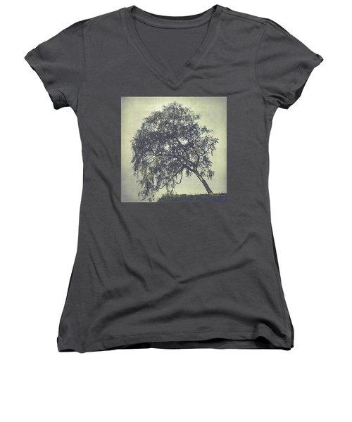 Women's V-Neck T-Shirt (Junior Cut) featuring the photograph Birch In The Mist by Ari Salmela