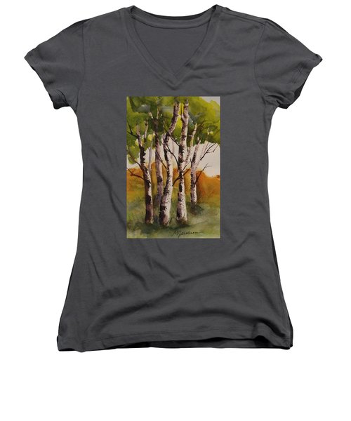 Women's V-Neck T-Shirt (Junior Cut) featuring the painting Birch by Marilyn Jacobson