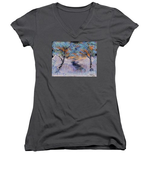 Birch Trees On The Ridge 2 Women's V-Neck