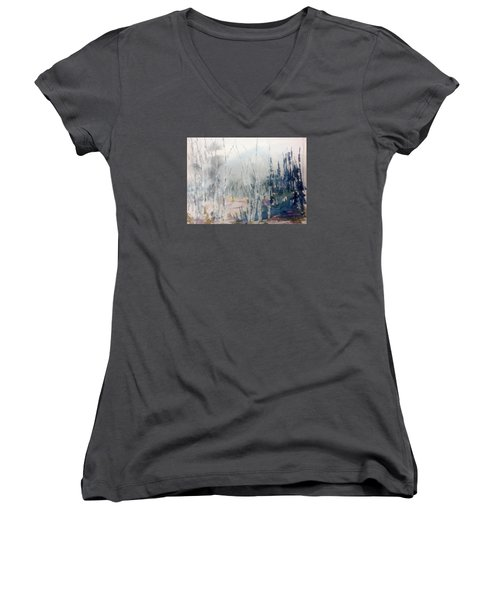 Birches In Haze  Naim's Enchatned Forest Women's V-Neck T-Shirt