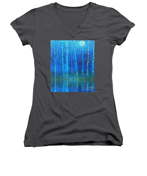 Birches In Moonlight Women's V-Neck T-Shirt