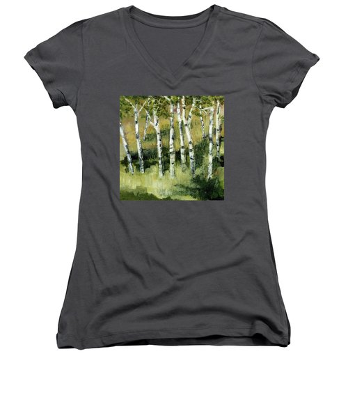 Birches On A Hill Women's V-Neck (Athletic Fit)