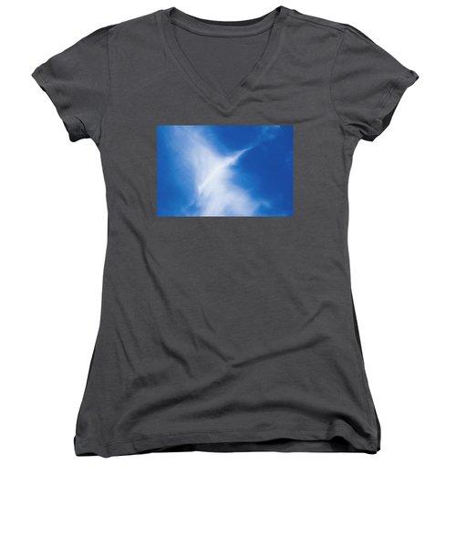 Women's V-Neck T-Shirt featuring the photograph Bird Cloud by Yulia Kazansky