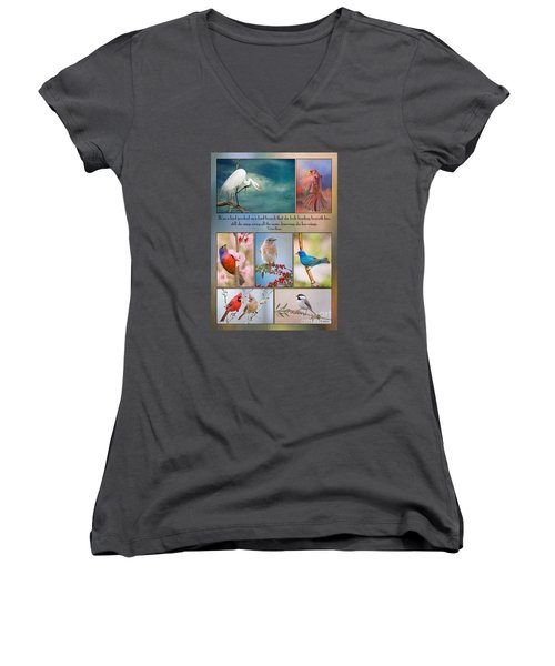 Bird Collage With Motivational Quote Women's V-Neck T-Shirt (Junior Cut) by Bonnie Barry