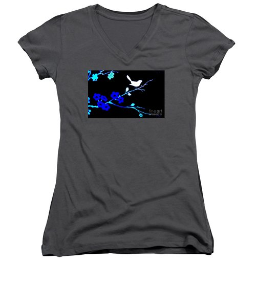Bird In A Flower Tree Abstract Women's V-Neck T-Shirt (Junior Cut) by Marsha Heiken