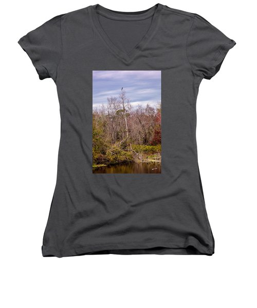Women's V-Neck T-Shirt (Junior Cut) featuring the photograph Bird Out On A Limb 3 by Madeline Ellis