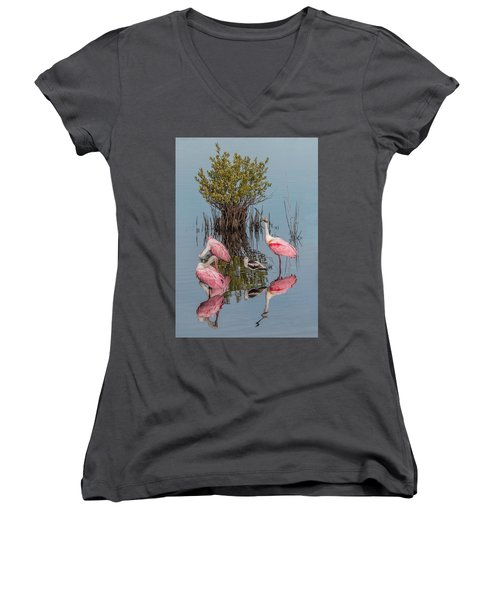 Birds And Mangrove Bush Women's V-Neck (Athletic Fit)
