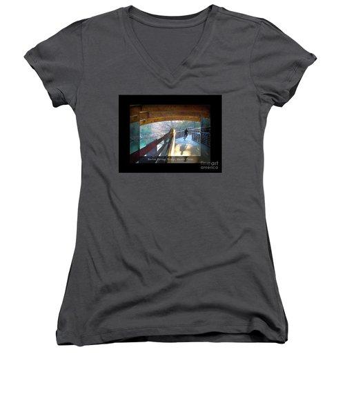 Birds Boaters And Bridges Of Barton Springs - Bridges One Greeting Card Poster V2 Women's V-Neck T-Shirt (Junior Cut) by Felipe Adan Lerma