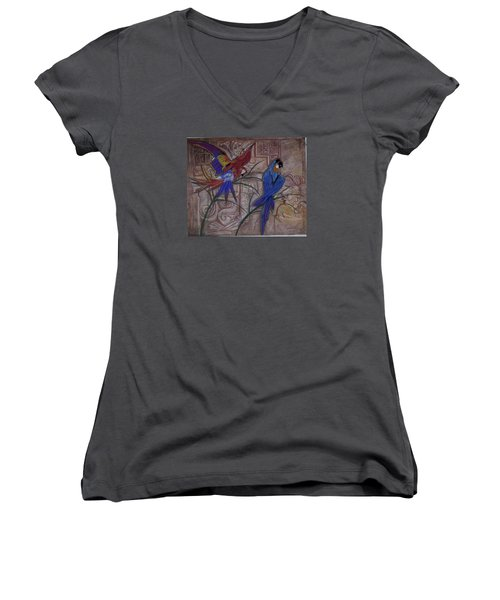 Birds On A Mayan Wall Women's V-Neck (Athletic Fit)