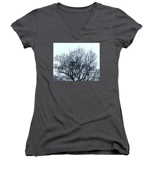 Birds On The Tree Monochrome Women's V-Neck