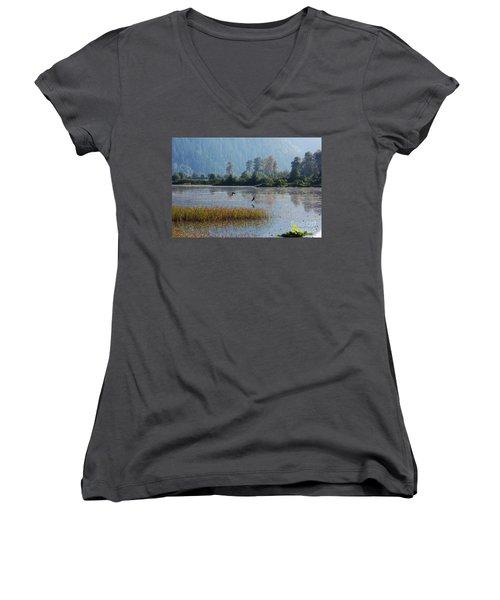 Birds Paradise Women's V-Neck T-Shirt (Junior Cut) by Victor K