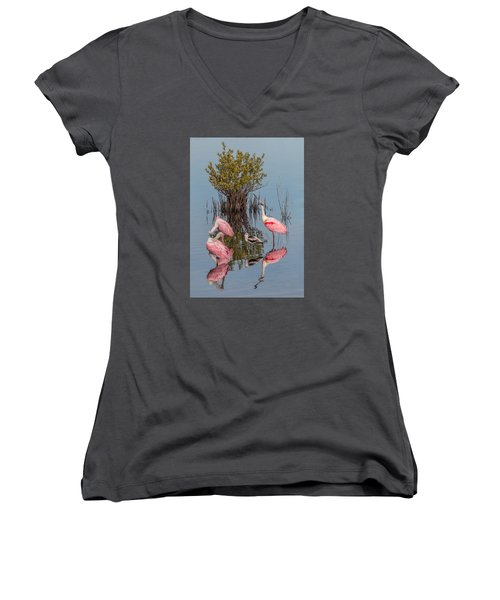 Birds, Reflections, And Mangrove Bush Women's V-Neck T-Shirt (Junior Cut) by Dorothy Cunningham