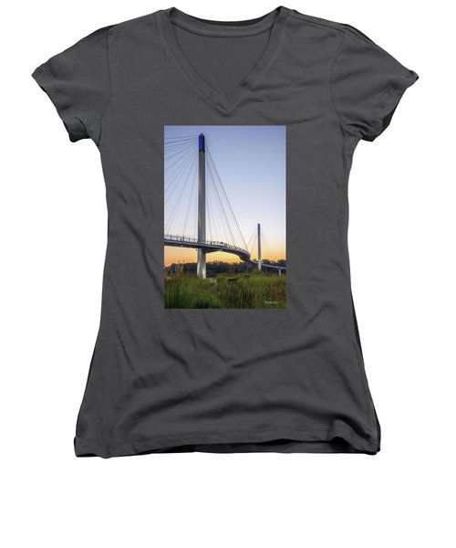 Birds Soaring Over Bob Kerry Bridge Women's V-Neck (Athletic Fit)