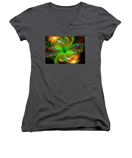 Women's V-Neck T-Shirt (Junior Cut) featuring the digital art Birst Of Spring by Svetlana Nikolova
