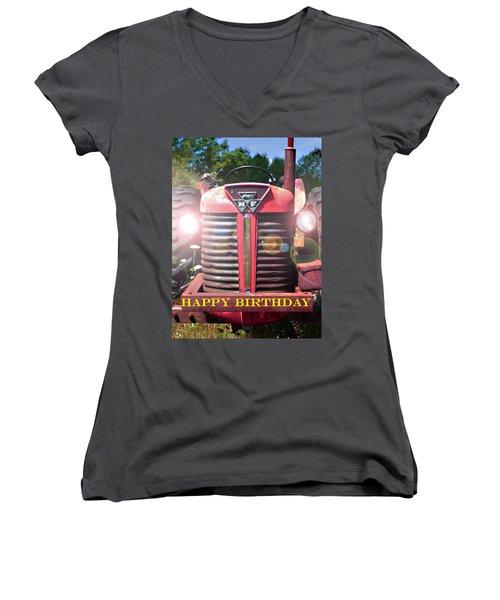 Birthday Card -- Big M-f Women's V-Neck T-Shirt