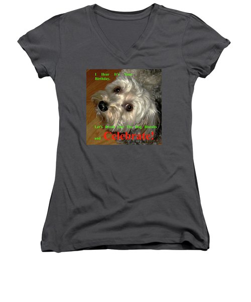 Birthday Women's V-Neck T-Shirt (Junior Cut) by Dale Ford