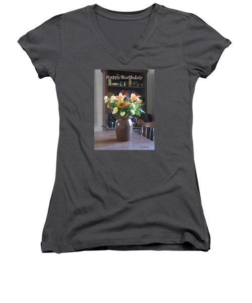 Birthday Jug Of Flowers Women's V-Neck T-Shirt (Junior Cut) by Deborah Dendler