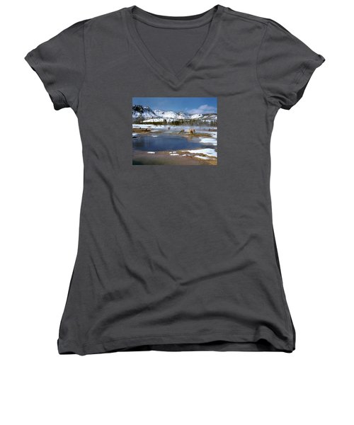 Biscuit Basin Elk Herd Women's V-Neck T-Shirt (Junior Cut) by Ed  Riche