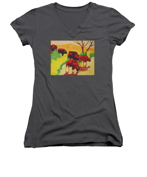 Bison Art Bison Crossing Stream Yellow Hill Painting Bertram Poole Women's V-Neck T-Shirt (Junior Cut) by Thomas Bertram POOLE