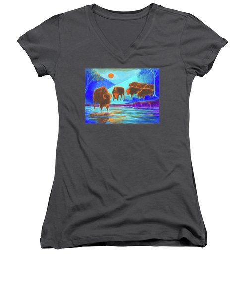 Bison Art - Seven Bison At Sunrise Yosemite Painting T Bertram Poole Women's V-Neck T-Shirt (Junior Cut) by Thomas Bertram POOLE
