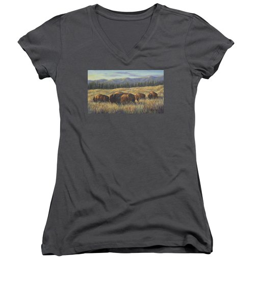 Women's V-Neck T-Shirt (Junior Cut) featuring the painting Bison Bliss by Kim Lockman