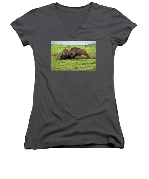 Bison Fighting Women's V-Neck T-Shirt