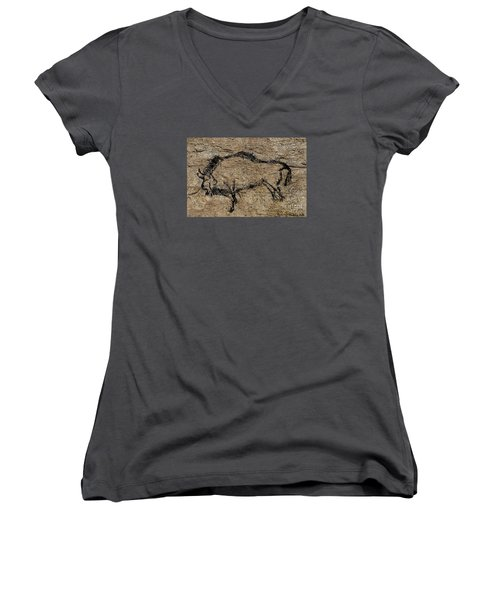 Bison From Niaux Cave Women's V-Neck T-Shirt (Junior Cut) by Dragica Micki Fortuna