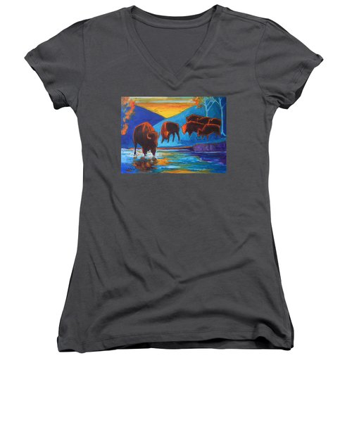 Bison Turquoise Hill Sunset Acrylic And Ink Painting Bertram Poole Women's V-Neck T-Shirt (Junior Cut) by Thomas Bertram POOLE