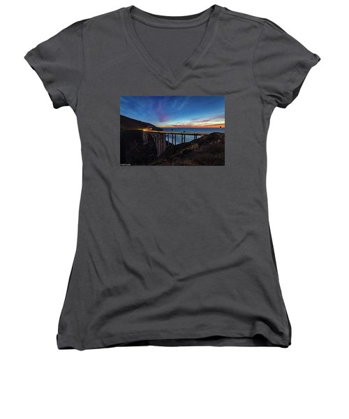 Bixby Bridge Sunset Women's V-Neck