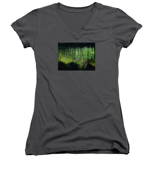 Black And Green Women's V-Neck T-Shirt