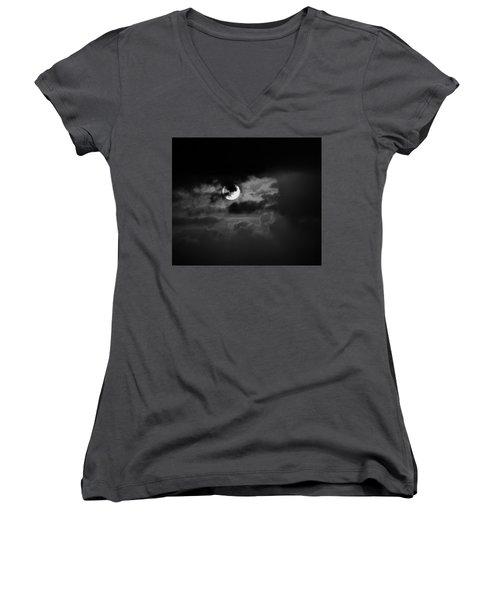 Black And Grey Women's V-Neck T-Shirt (Junior Cut) by John Glass