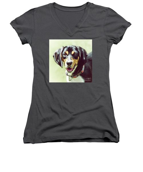 Women's V-Neck T-Shirt featuring the digital art Black And Tan by Lois Bryan