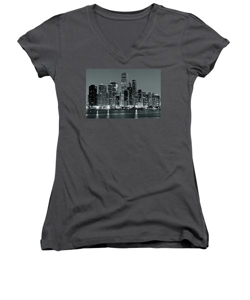 Women's V-Neck T-Shirt (Junior Cut) featuring the photograph Black And White And Grey Chicago Night by Frozen in Time Fine Art Photography