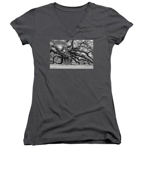 Black And White Angel Oak Tree Women's V-Neck