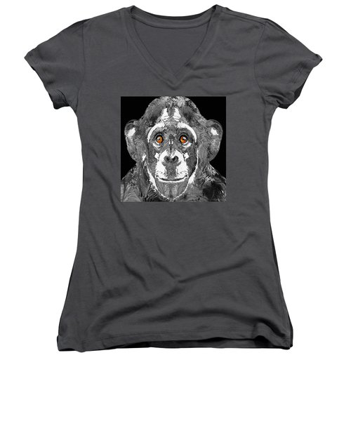 Black And White Art - Monkey Business 2 - By Sharon Cummings Women's V-Neck T-Shirt (Junior Cut) by Sharon Cummings
