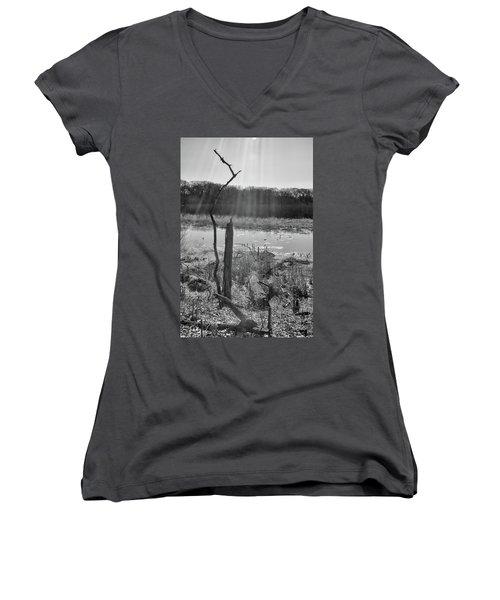 Black And White Bog Women's V-Neck