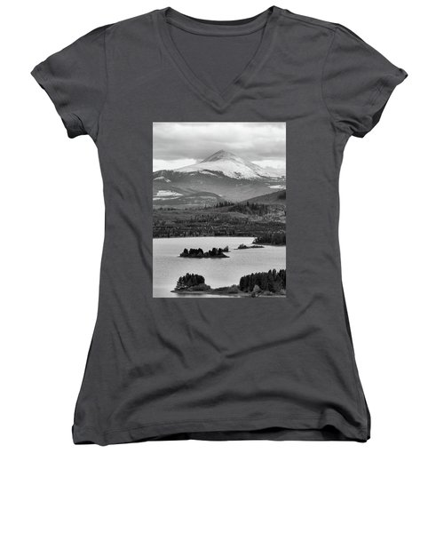 Women's V-Neck T-Shirt (Junior Cut) featuring the photograph Black And White Breckenridge by Dan Sproul
