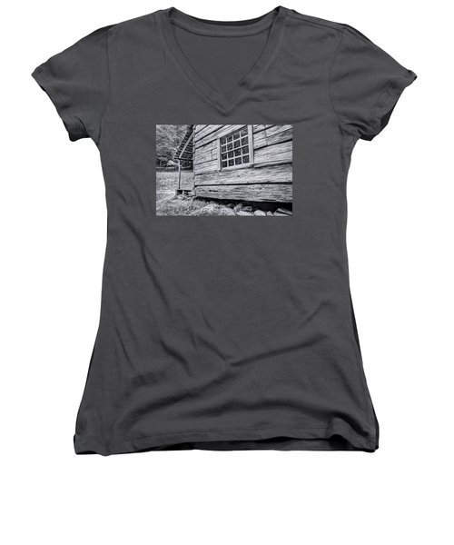 Black And White Cabin In The Forest Women's V-Neck