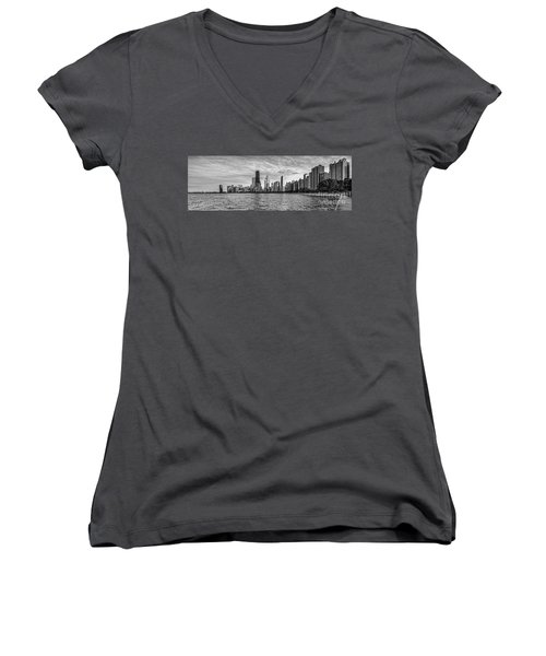Black And White Panorama Of Chicago From North Avenue Beach Lincoln Park - Chicago Illinois Women's V-Neck