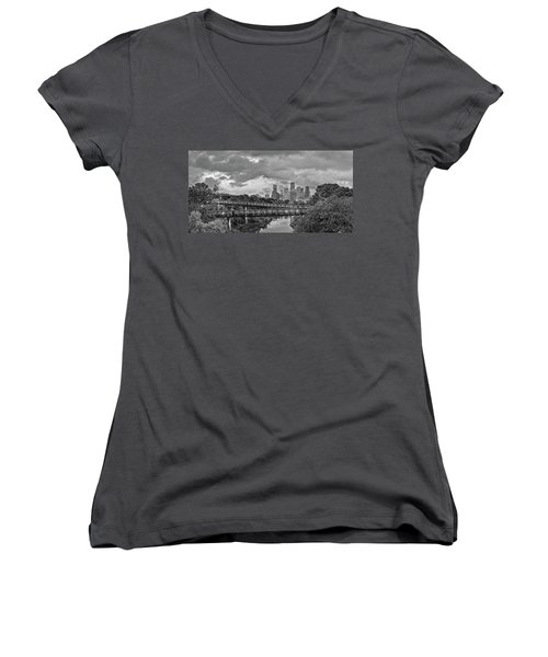 Black And White Panorama Of Downtown Houston And Buffalo Bayou From The Studemont Bridge - Texas Women's V-Neck