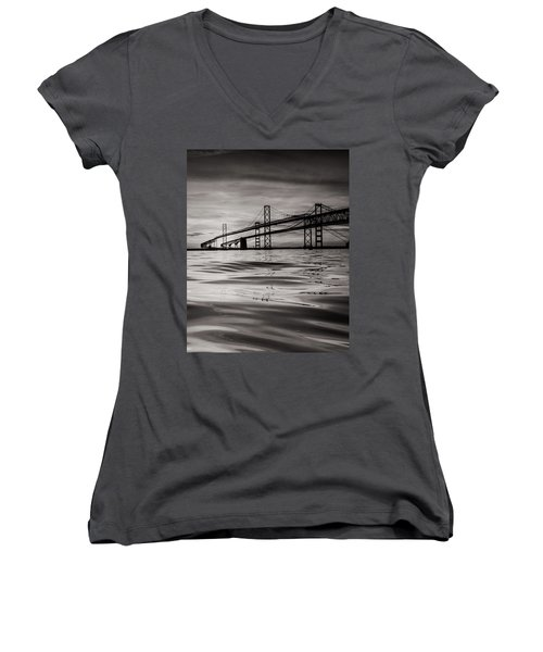 Women's V-Neck T-Shirt (Junior Cut) featuring the photograph Black And White Reflections 2 by Jennifer Casey