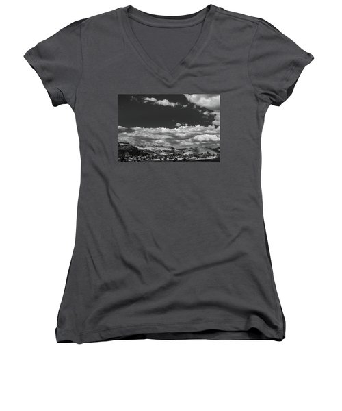 Black And White Small Town  Women's V-Neck T-Shirt (Junior Cut) by Jingjits Photography