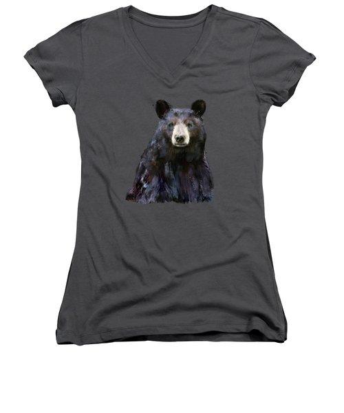 Black Bear Women's V-Neck T-Shirt (Junior Cut) by Amy Hamilton