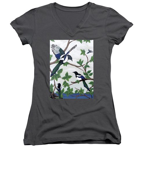 Black Billed Magpies Women's V-Neck T-Shirt (Junior Cut) by Teresa Wing