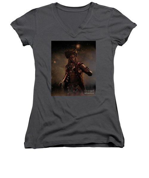 Black Caesar Pirate Women's V-Neck T-Shirt