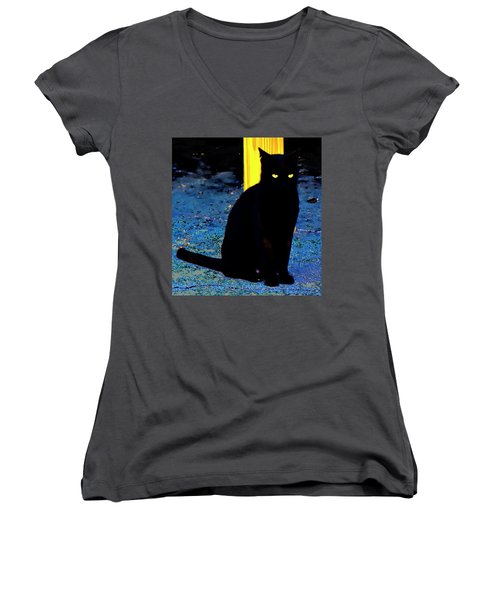 Black Cat Yellow Eyes Women's V-Neck T-Shirt